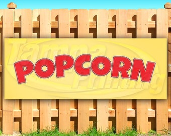 Flag, New Kettle Corn 13 oz Heavy Duty Vinyl Banner Sign with Metal Grommets Many Sizes Available Advertising Store