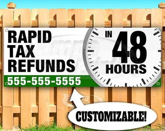 Tax Service Fast Refund 13 oz Banner Heavy-Duty Vinyl Single-Sided with Metal Grommets