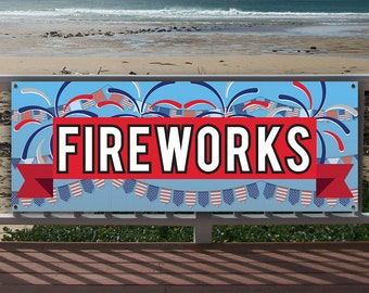 Flag, Advertising BOGO Fireworks 13 oz Heavy Duty Vinyl Banner Sign with Metal Grommets Store Many Sizes Available New