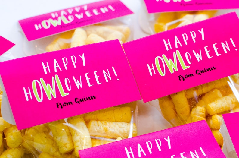Halloween Printable Halloween Treat Bag Topper Gift Bag Classroom Party Favors Owl Treat Bag Topper