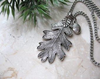 Oak Leaf Necklace, Acorn Pendant, Acorn Jewelry