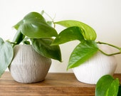 White Ceramic Pot, 4 quot Textured Ceramic Planter, Grey and White Available