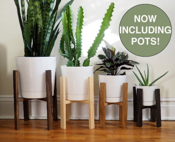 Wooden Plant Stand With White Pots 8 Colors And 4 Sizes Etsy