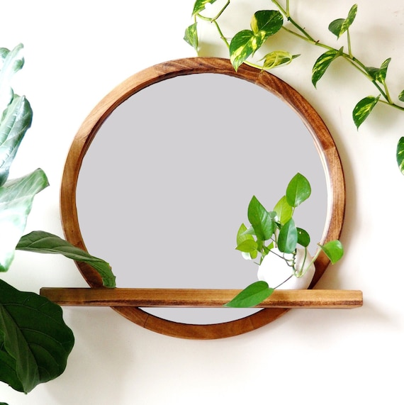 Functional Circle Mirror Round Mirror With Floating Shelf Etsy