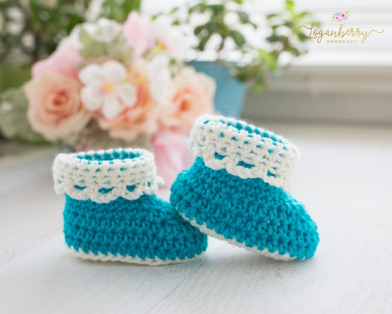 Lace Cuff Baby Booties Crochet Pattern Crochet Baby Shoes Etsy