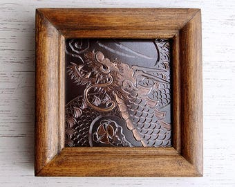"Rising Dragon, ""Shoryu"" , Copper Chasing Picture, Copper Engraving"