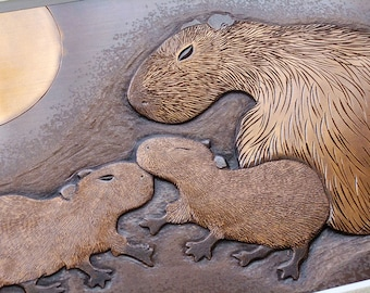 Parent and Children of Capybara, Copper Chasing Picture, Copper Engraving Picture