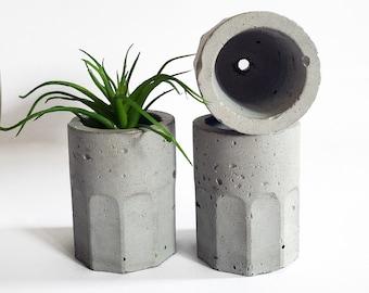 SHOT2 geometric concrete shot glass / unique vase / mini succulent pot / cement decor / minimal gift / interior design / small cute planter