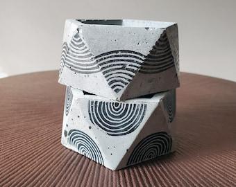 ICOS stamped icosahedron / minimal arch design / geometric concrete / industrial planter / succulent cactus pot / ring dish  / grey rainbow