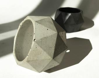 TRIA Geometric Industrial Decor / Polyhedron / Succulent or Cactus Pot / Concrete Planter / Minimalist Accent Piece / Air Plant Vessel