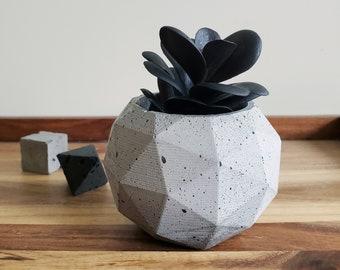 DOME concrete vessel / succulent planter / geometric polyhedron / grey industrial decor / unique paperweight / modern air plant holder