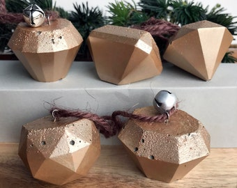 Concrete Ornaments / Set of 6 / Geometric Holiday Decor / Christmas Tree Decorations / Rose Gold Accents / Bright Diamond/ Gems