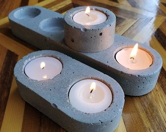 MIN tealight candle holder set / geometric table decoration / holiday decor / unique centerpiece / christmas tableware / concrete tableware