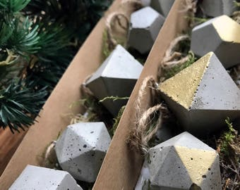 Concrete Ornaments / Set of 5 / Geometric Holiday Decor / Christmas Tree Decorations / Gold Accents / Minimalist Accent Piece / Industrial