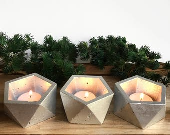 Concrete Candle Holders / Set of 3 / Geometric Holiday Decor / Christmas Tealight Holder / Silver Icosahedron / Minimalist Accent Piece