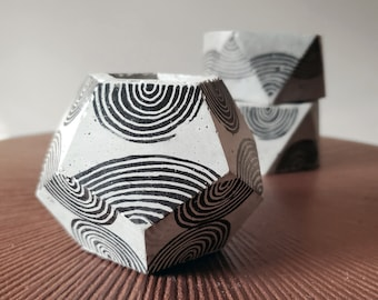 DOD stamped concrete pot / grey dodecahedron / industrial decor / modern pen holder / unique rainbow pattern / small succulent planter