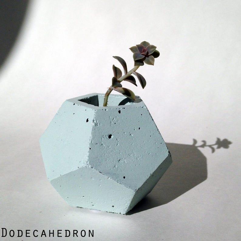 Geometric Planter / Concrete Home Decor / Light Baby Blue / image 0