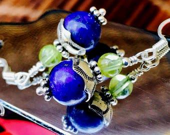 Lapis Lazuli & Peridot Earrings with Handmade Sterling Radiant Heart Bead Caps