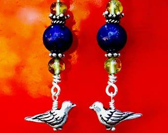 Lapis Lazuli and Peridot Bird Earrings