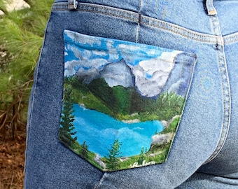 Women's Levis size 27, Hand painted Jeans, Painted Jean Pocket, Upcycled Jeans, Hand Painted Levis, Levis for Women, Painted Lake Jeans