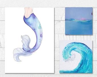 Set of 3 Prints, 3 Canvas Prints Set, Mermaid Tail, Large Ocean Wave, Abstract Landscape Art Canvas Prints, Beach Wall Art Set, Ocean Art