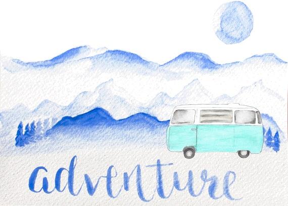 Art Drawing Of Retro Vw Bus
