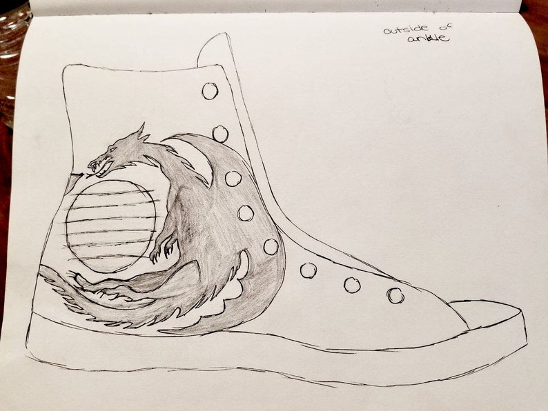dcafb06834d15 Custom Made to Order Hand Painted Converse Chuck Taylor All Star High Top  Sneakers Game of Thrones Concept Sketch Painting Dragon GOT Shoes