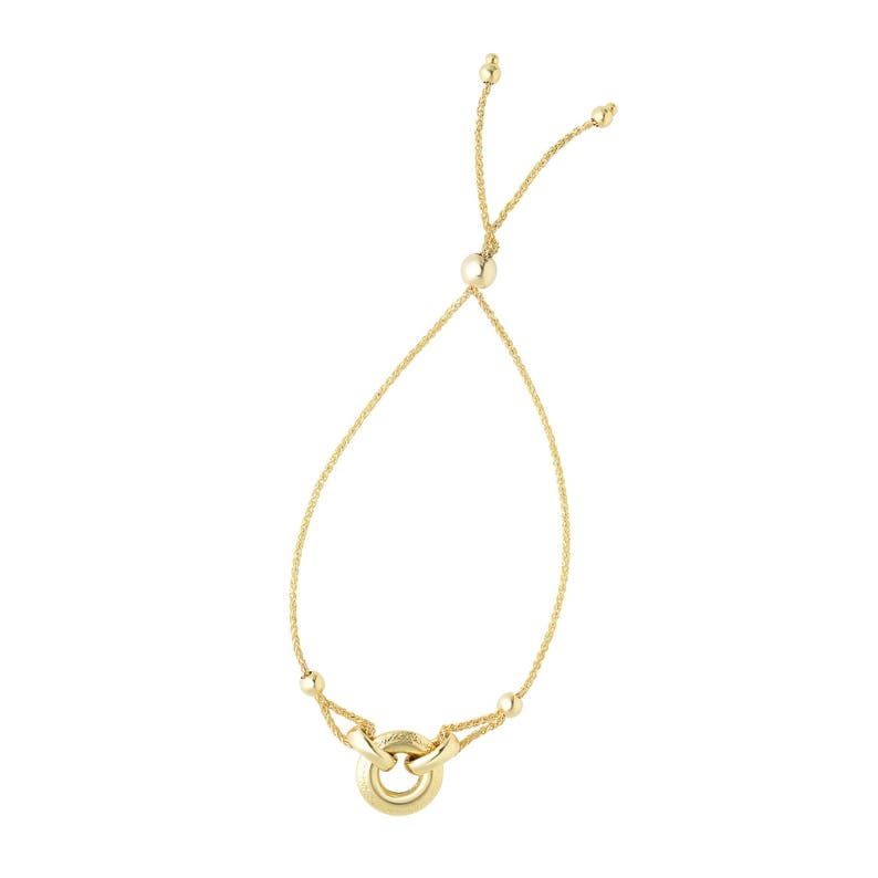 14K 9.25 Yellow Gold 1mm Diamond Cut Round Wheat Bracelet with Ring Anchored to Loop Center Element with Draw String Element #N4210
