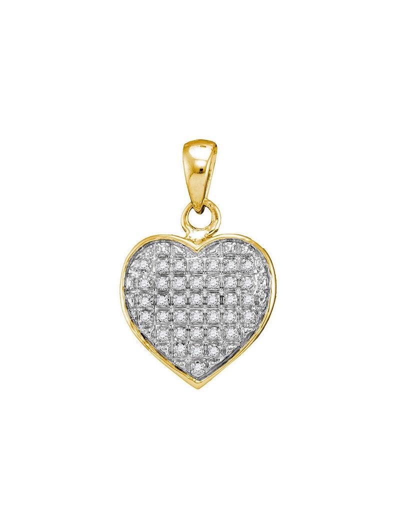 10kt Yellow Gold Womens Round Diamond Heart Cluster Pendant 110 Cttw