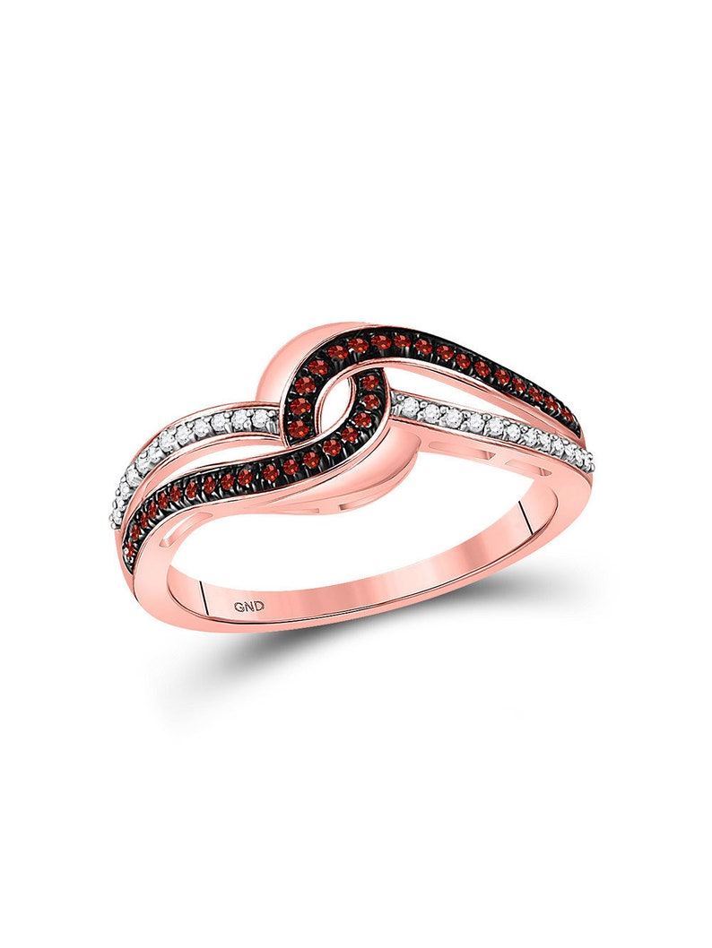 B0813284CF The Diamond Deal 10kt Rose Gold Womens Round Red Color Enhanced Diamond Swirl Band Ring 15 Cttw
