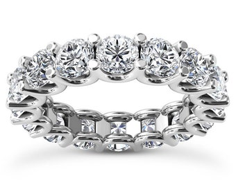 2Ct 18K Diamond Full Eternity Band With U Prong Open Setting Anniversary Wedding Band Women's Ring With Round Diamonds High Quality