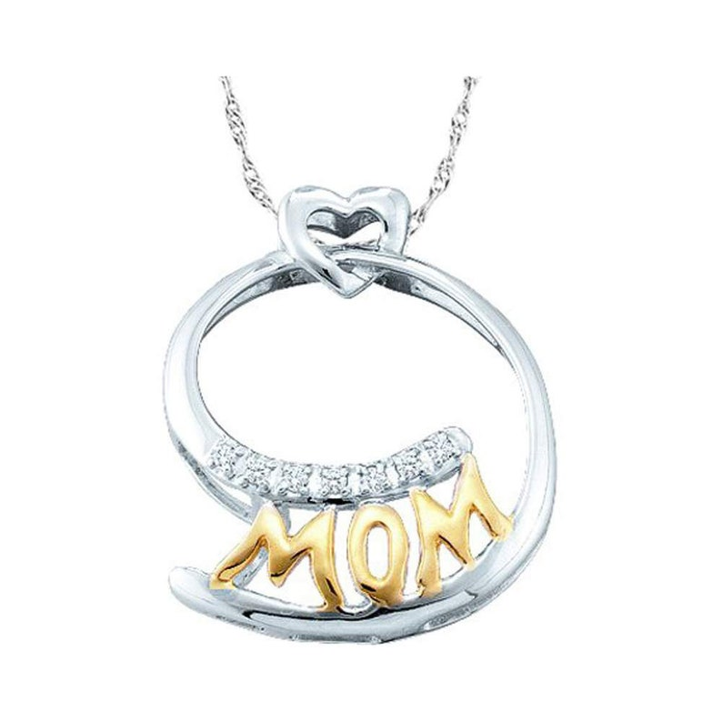 10kt Two-tone Gold Womens Round Diamond Mom Mother Pendant 120 Cttw