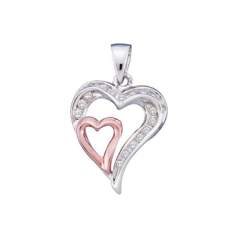 10kt White Gold Womens Round Diamond Double Heart Pendant 14 Cttw