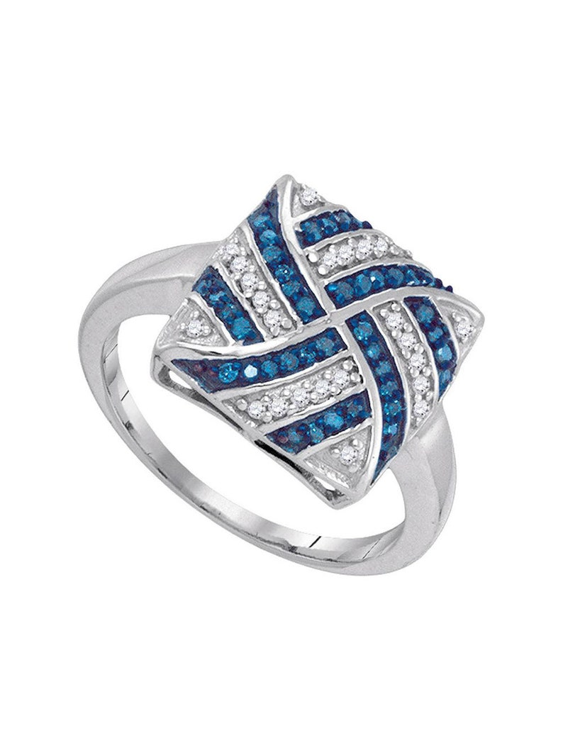 10kt White Gold Womens Round Blue Color Enhanced Diamond Square Stripe Cluster Ring 14 Cttw