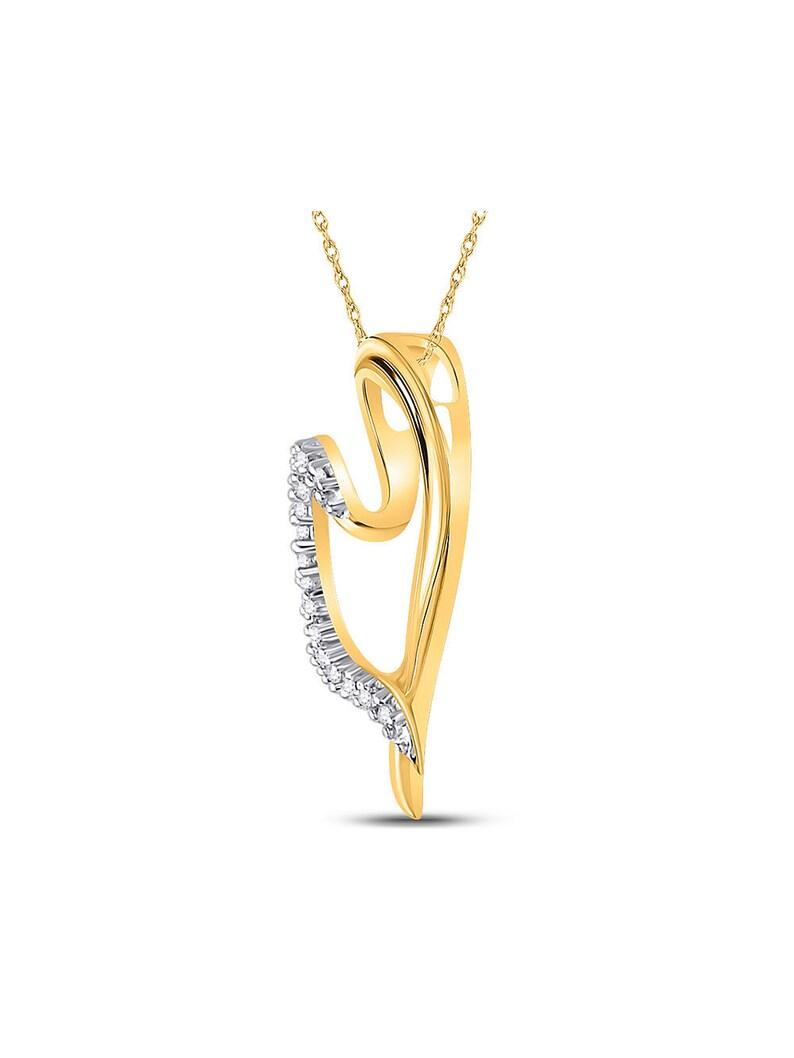 10kt Yellow Gold Womens Round Diamond Heart Pendant 110 Cttw