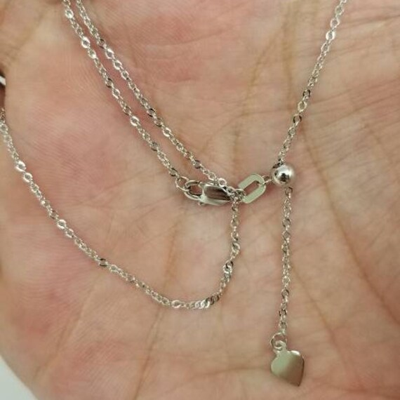 """10k Solid White Gold Adjustable Box Necklace Pendant Chain Up to 22/"""" .7mm"""