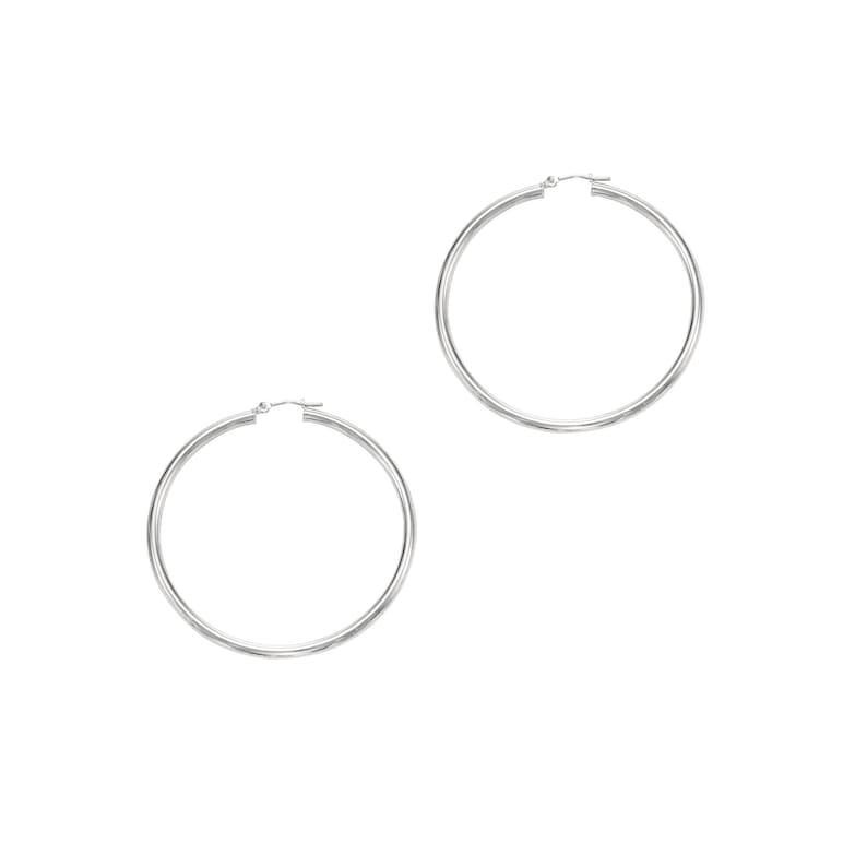 14K White Gold High Quality Hoop Earrings Polished 3.0 X 50mm #WT528