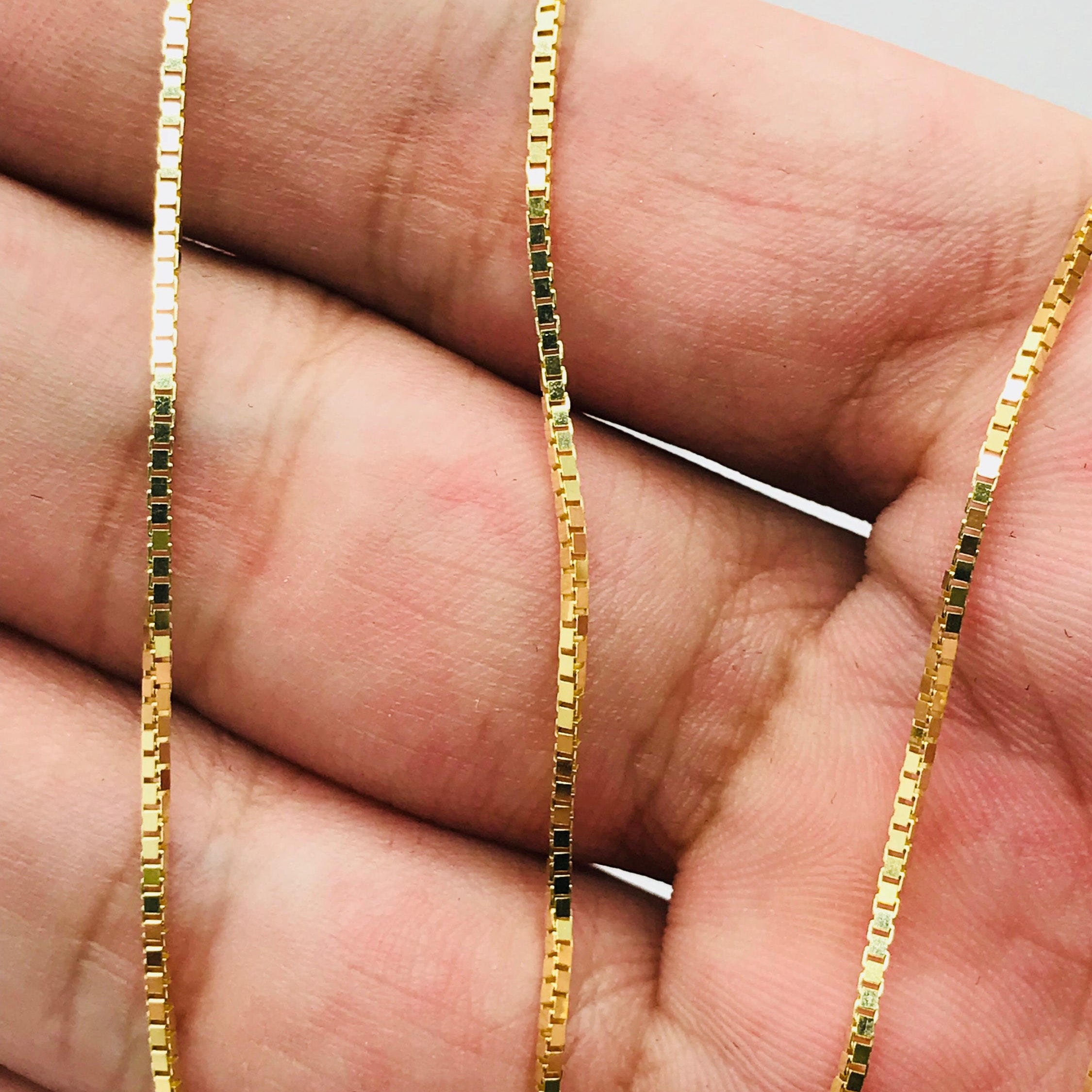 9f9ed3c88844 14K Solid Yellow Gold Classic Box Chain 1.1 mm High Quality