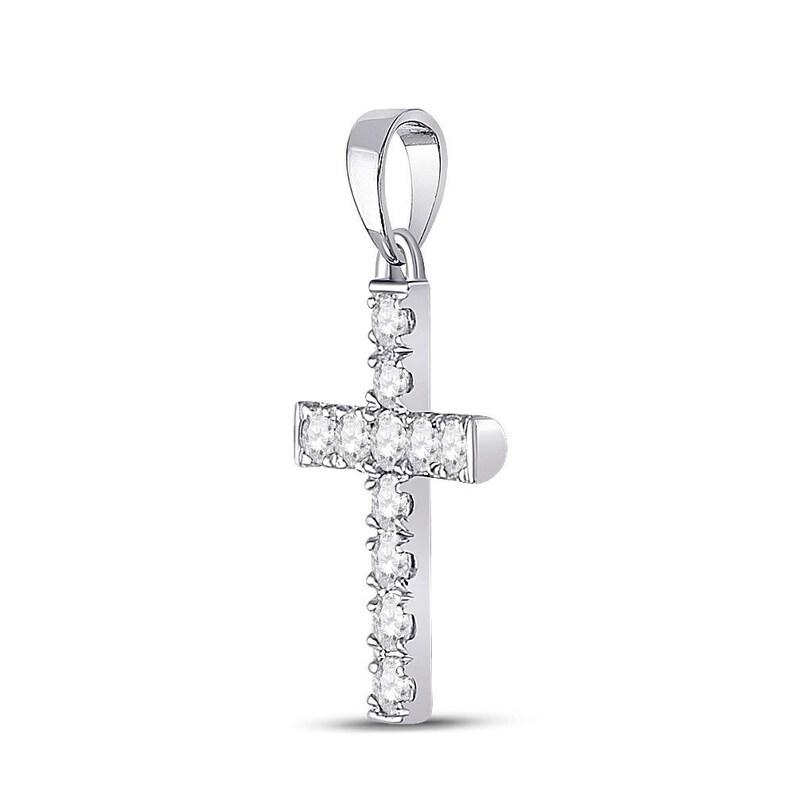 10kt White Gold Womens Round Diamond Cross Pendant 14 Cttw