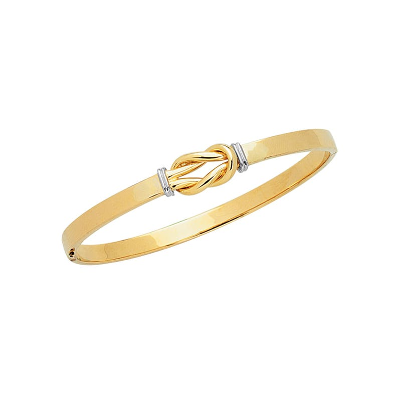 "7/"" 10K Yellow Gold 5.0mm Shiny Classic Bangle"