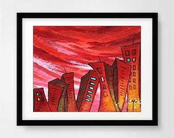 Instant download printable art print city painting red wall decor pop art urban town buildings modern print artwork home decor design