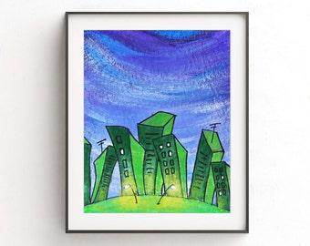 Instant download printable art print city painting green wall decor pop art urban town buildings modern print artwork home decor design
