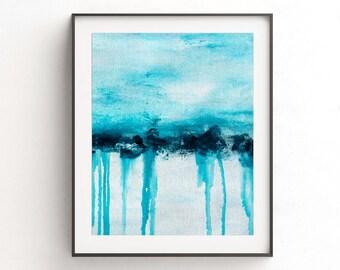 Instant download printable art landscape painting wall decor art print blue white abstract art line modern interior design artwork