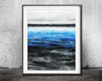 Instant download printable art wall decor art blue abstract print landscape painting art line modern interior design artwork  home decor