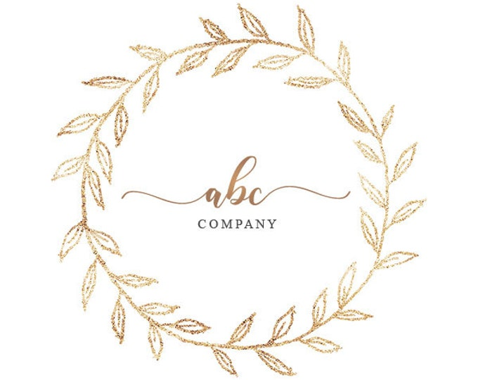 Sparkly gold wreath logo
