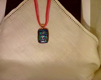 Oceanic blue and green with lavender seahorse and fish dichroic glass pendant