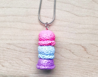 polymer clay ice cream necklace- polymer clay charms,polymer clay necklace,jewelry,handmade,ice cream,pink,blue,purple,dessert,sweets,food