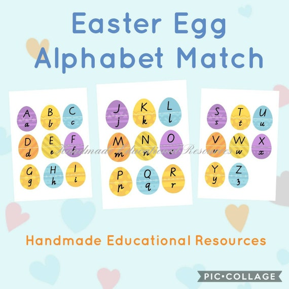 Digital Download Printable Easter Egg Alphabet Match/Puzzles