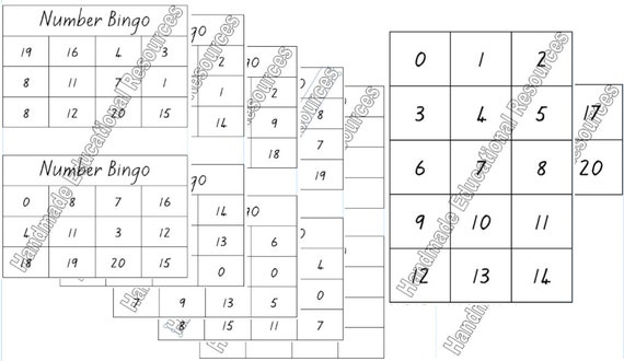 photo about Printable Number Bingo Cards titled Printable Quantity Bingo 0 in the direction of 20 Down load