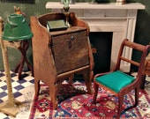 Miniature Antique Golden Oak Writing Desk, From Late 1800 39 s to Early 1900 39 s for 1 12 Dollhouse, Drop-Front Writing Desk